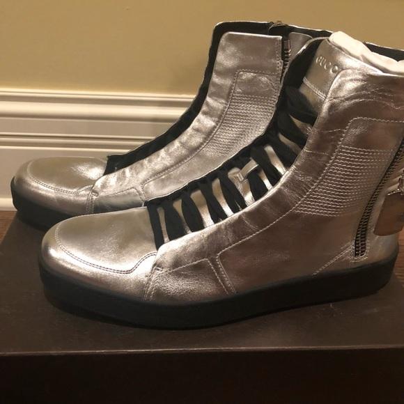 Mens Gucci Silver Metallic Boots Size 1